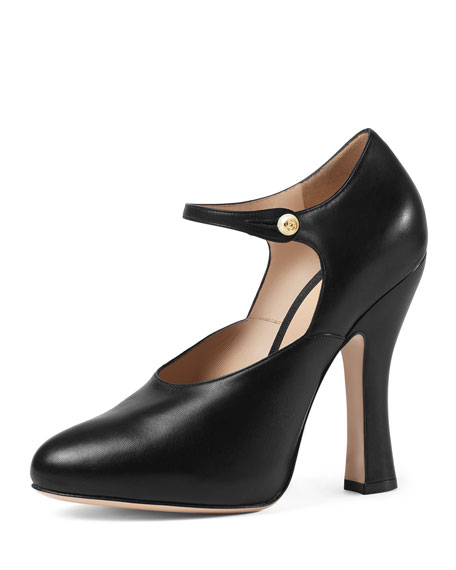 Gucci Lesley Leather Mary Jane Pump, Black