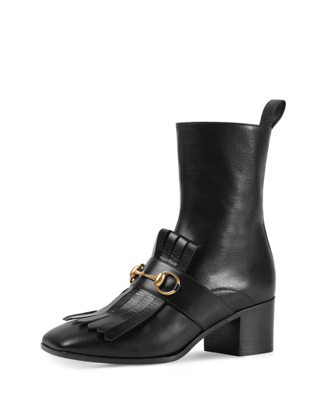Gucci Kiltie Leather Ankle Boots, Nero