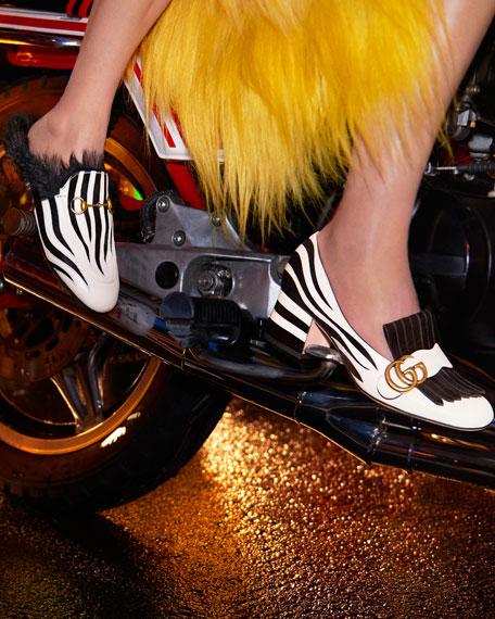 Marmont Fringe Suede 55mm Loafer, Argento