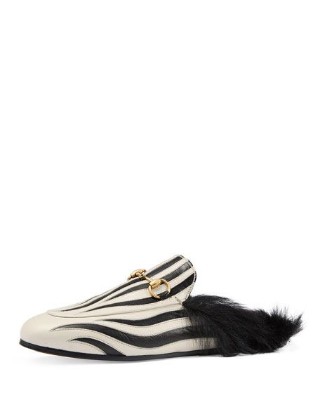 Gucci Princetown Zebra-Inlay Fur-Lined Mule, Black/White