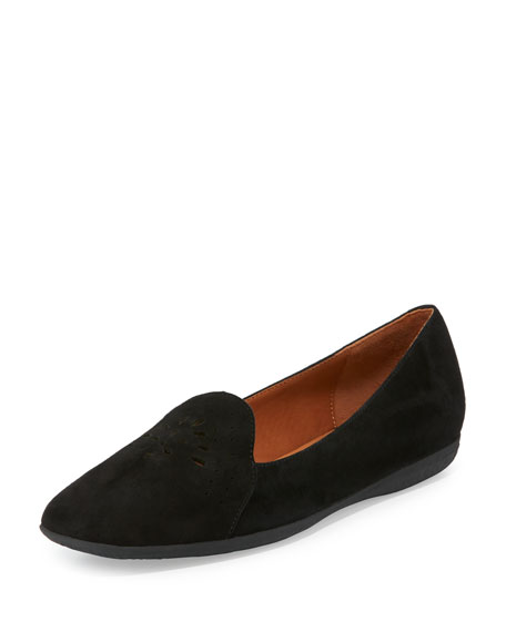 Erica Perforated Suede Loafer, Black