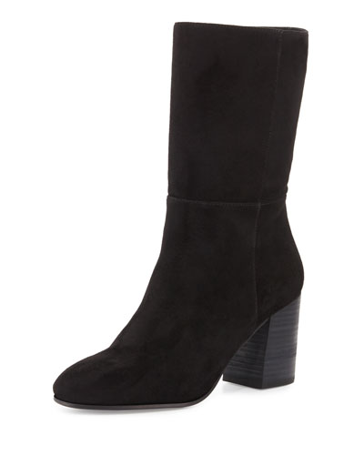 Chinch Suede Mid-Calf Boot, Black