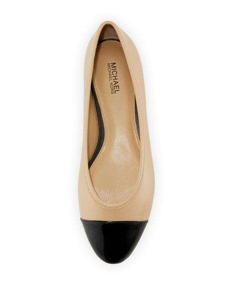 Sabrina Cap-Toe Ballet Flat, Nude/Black