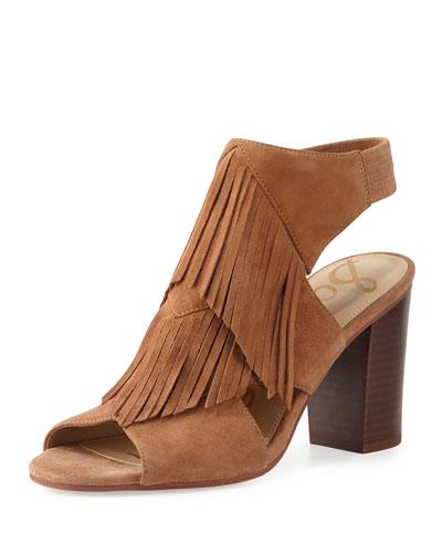 Elaine Fringe Chunky-Heel Sandal, Saddle