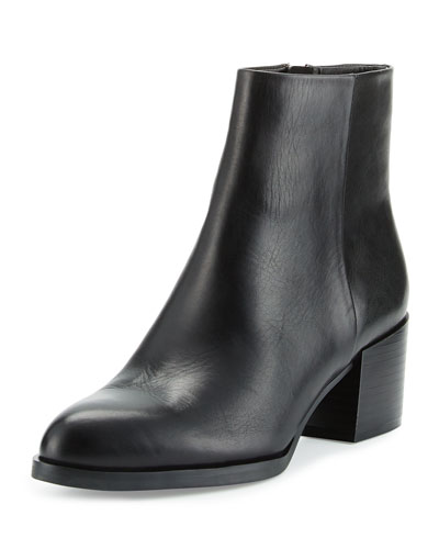 Joey Leather Chunky-Heel Bootie, Black