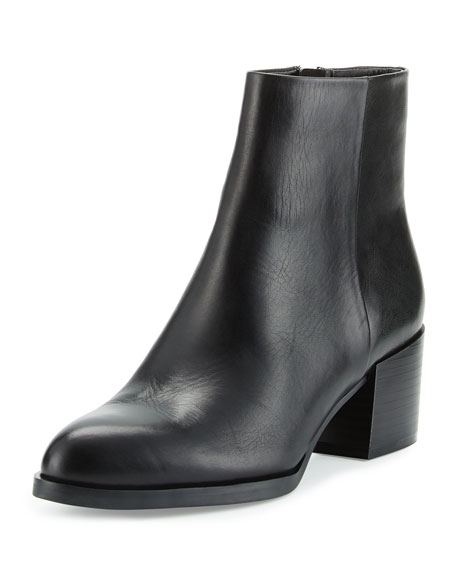 Joey Leather Chunky-Heel Bootie, Black