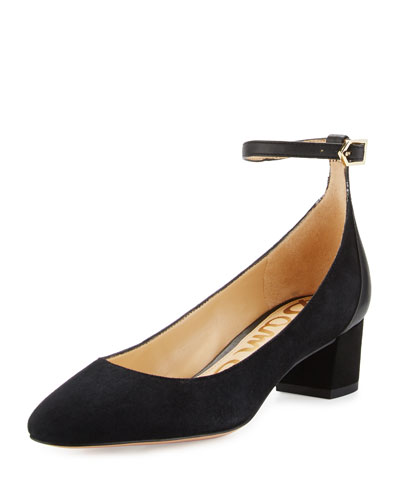 Lola Suede Ankle-Wrap Pump, Black