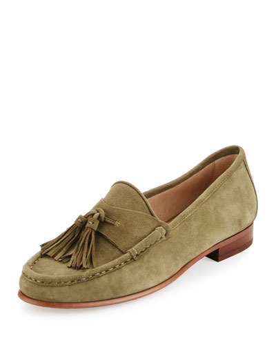Therese Suede Tassel Loafer, Moss Green