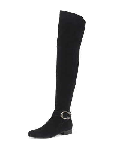 Dionysus Suede Over-The-Knee Boot, Nero