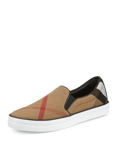 Burberry Gauden Check Skate Sneaker, Black