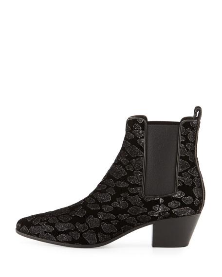 Rock Leopard-Print Velvet Chelsea Boot, Black/Silver (Nero/Argento)