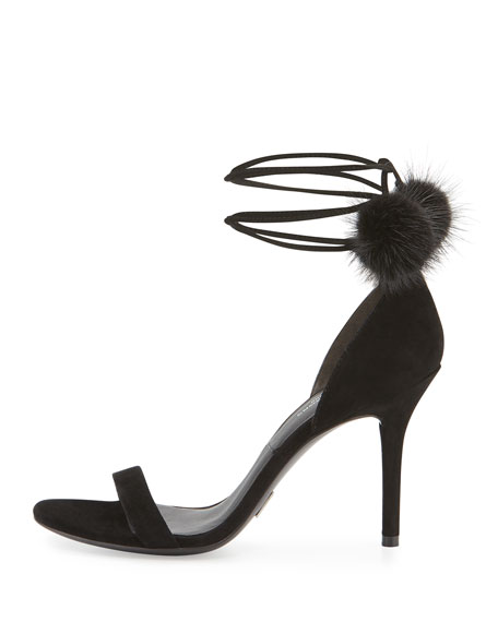 Rosemary Mink Fur-Pompom Sandal, Black