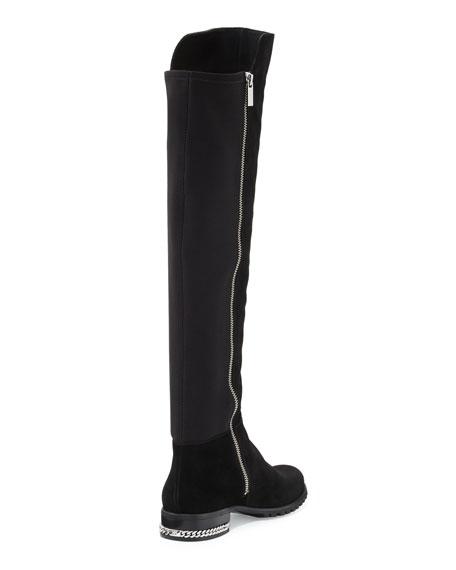 Sabrina Chain-Trim Suede Knee Boot, Black