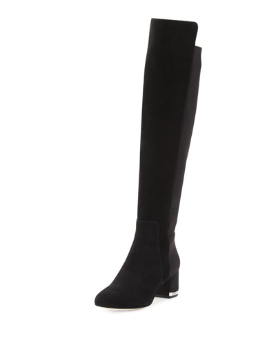 Sabrina Suede Over-the-Knee Boot, Black