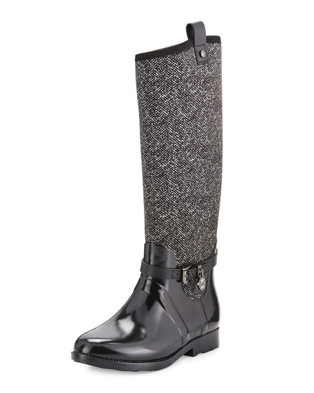 Charm Stretch Tall Rain Boot, Black/White