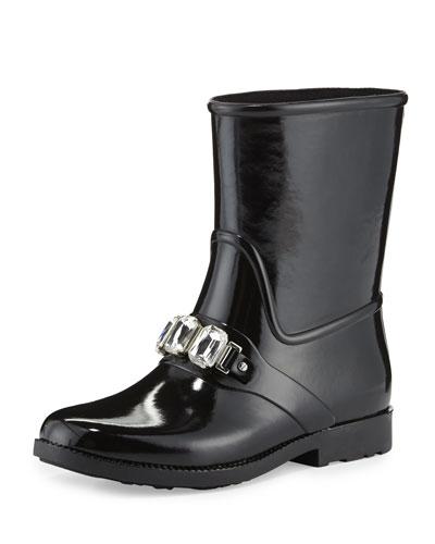 Leslie Jeweled Short Rain Boot, Black
