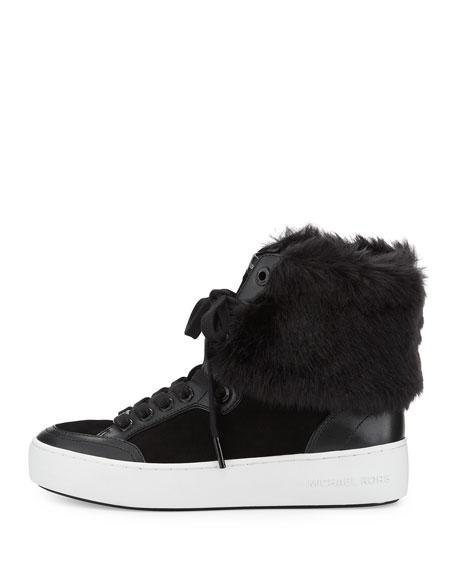 Poppy Faux-Fur High-Top Sneaker, Black