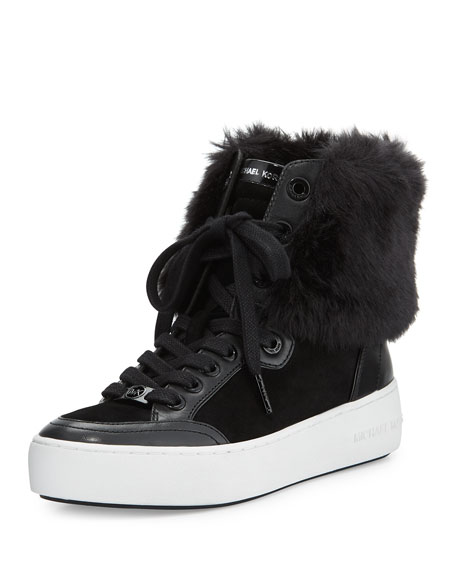 MICHAEL Michael Kors Poppy Faux-Fur High-Top Sneaker, Black