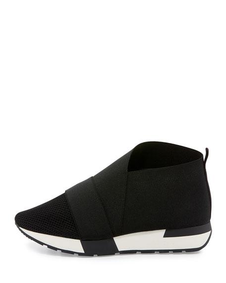Elastic & Mesh High-Top Sneaker, Black/White