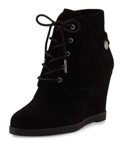 Carrigan Suede Wedge Ankle Boot, Black