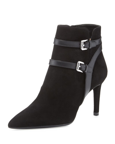 Fawn Pointed-Toe Buckle Bootie, Black