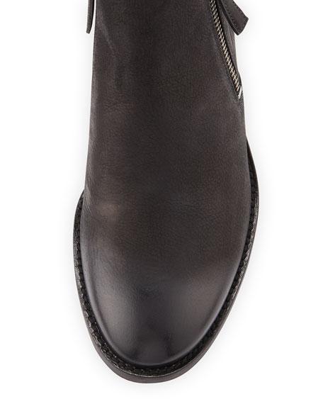 Denver Leather Zip Bootie, Black