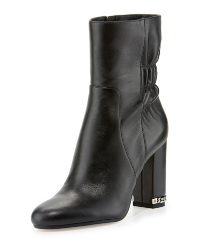 Dolores Ruched Leather Bootie, Black