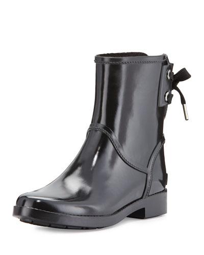 Larson Lace-Back Short Rain Boot, Black