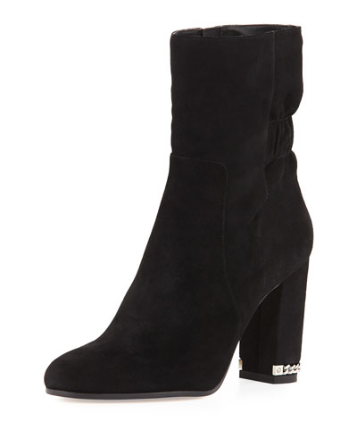 Dolores Ruched Suede Bootie, Black