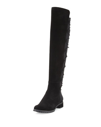Skye Laced-Back Suede Over-the-Knee Boot, Black