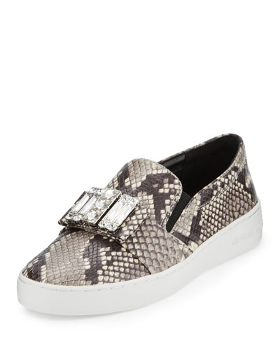 Michelle Jeweled Slip-On Sneaker, Natural