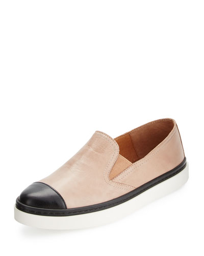 Danielle Cap-Toe Leather Skate Sneaker, Nude/Black
