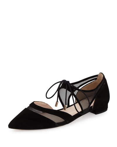 Maddie Pointed-Toe Lace-Up Ballerina Flat, Black