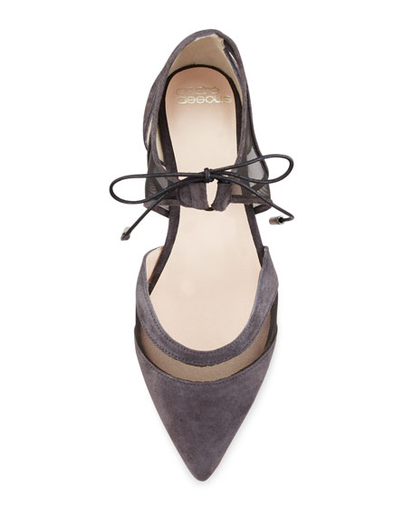 Maddie Pointed-Toe Lace-Up Ballerina Flat, Gray