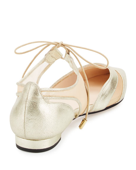 Andre Assous Maddie Pointed-Toe Lace-Up Ballerina Flat, Gold