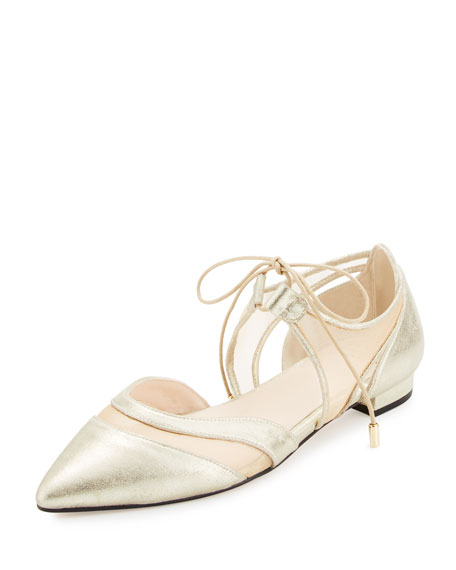 Maddie Pointed-Toe Lace-Up Ballerina Flat, Gold