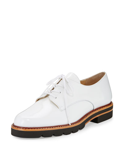 Metro Patent Leather Oxford, Bianca