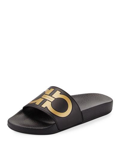 Groove Gancini Flat Slide Sandal, Nero/Oro