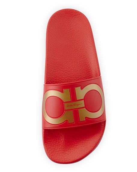 Groove Gancini Flat Slide Sandal, Pamplona/Oro