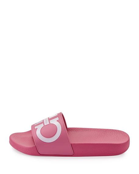 Gancini Flat Slide Sandal, Bubble/Bianco