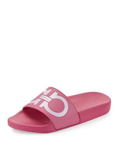 Groove Gancini Flat Slide Sandal, Bubble/Bianco