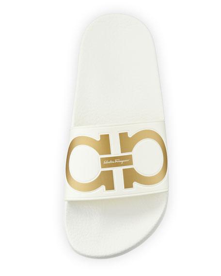 Groove Gancini Flat Slide Sandals, Bianco/Oro