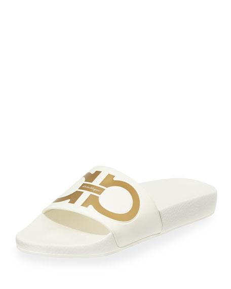 Salvatore Ferragamo Gancini Flat Slide Sandal, Bianco/Oro