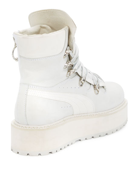 save off 43bac 5b1f4 Leather Platform Sneaker Boot White