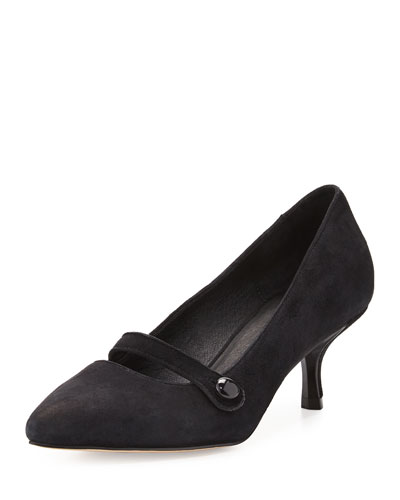 Gracey Suede Mid-Heel Mary Jane Pump, Black