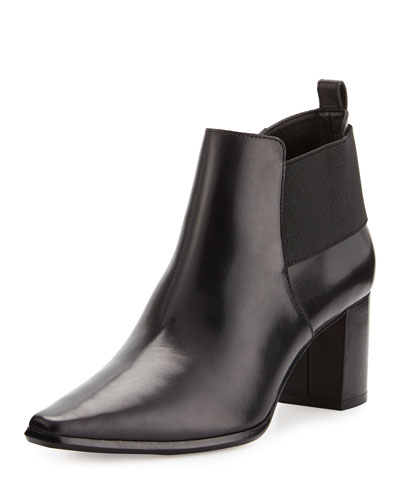 Lio Leather Mid-Heel Bootie, Black
