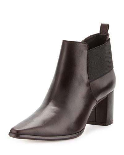 Lio Leather Mid-Heel Bootie, Dark Brown