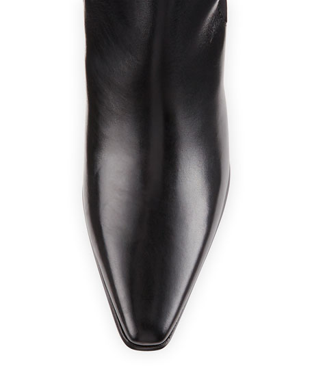 Lira Leather Mid-Heel Knee Boot, Black