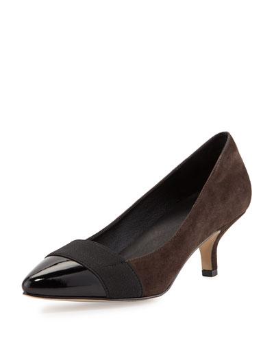 Gia Suede Pointed-Toe Pump, Black/Dark Brown