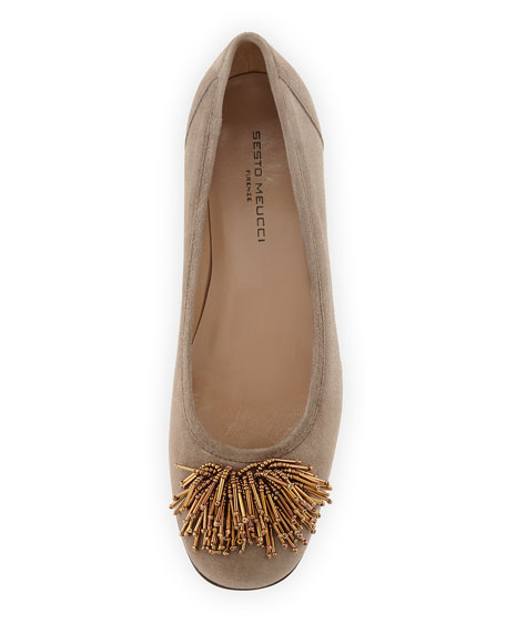 Flynn Beaded Suede Pump, Taupe